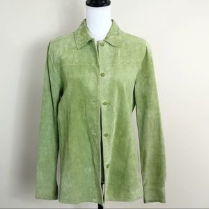 Outfit JPR Suede Leather Shirt Jacket Lime Green S